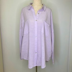 House of Sienna Button Up Shirt Roll Tab Sleeve Lilac Lavender 10 Medium Cotton